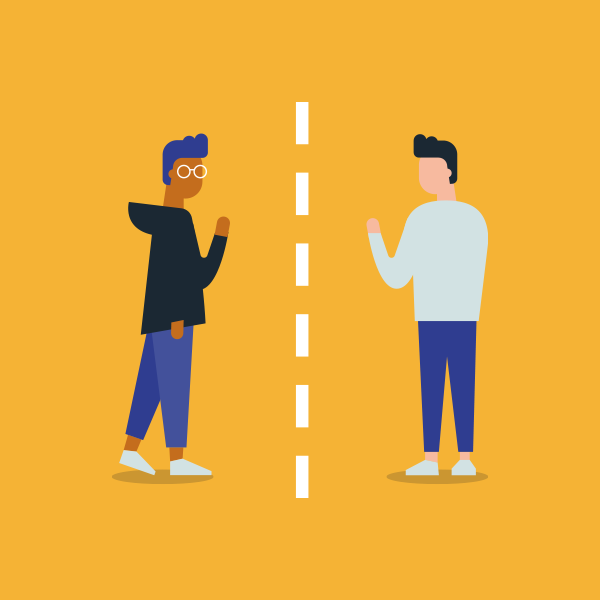 Vector illustration of two men social distancing