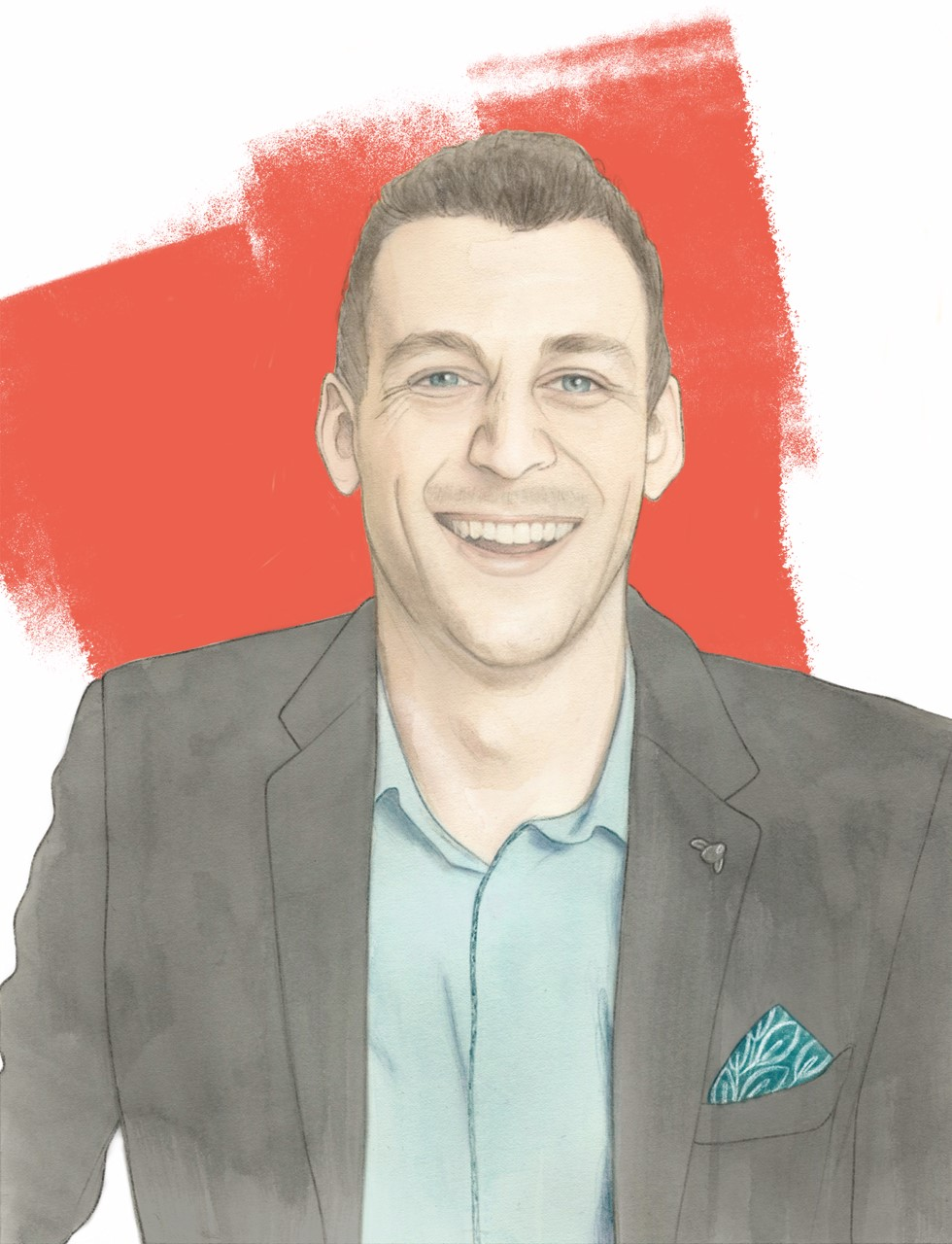 Illustration of comedian, Michael Shafar